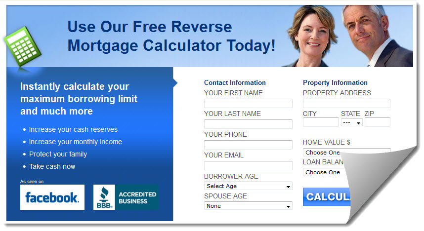 Screenshot of http://www.reversemortgageadviser.com/calculator.asp