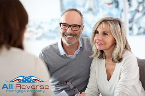 Mature couple meeting financial adviser for home