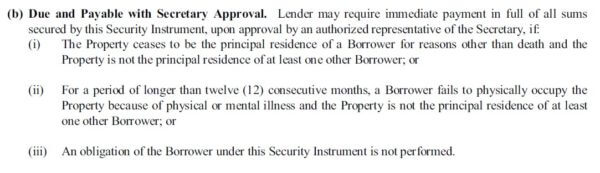 reverse mortgage deed due and payable section