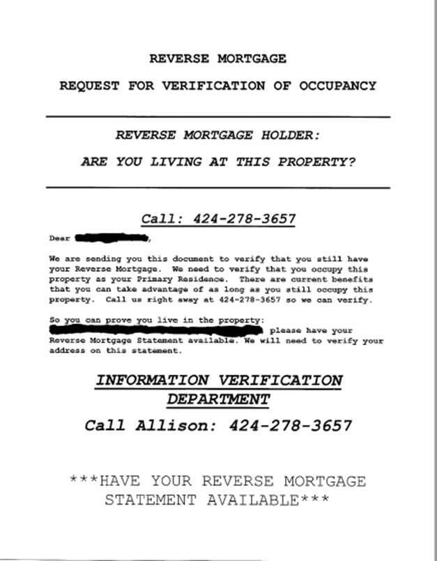 fraudulent occupancy letter