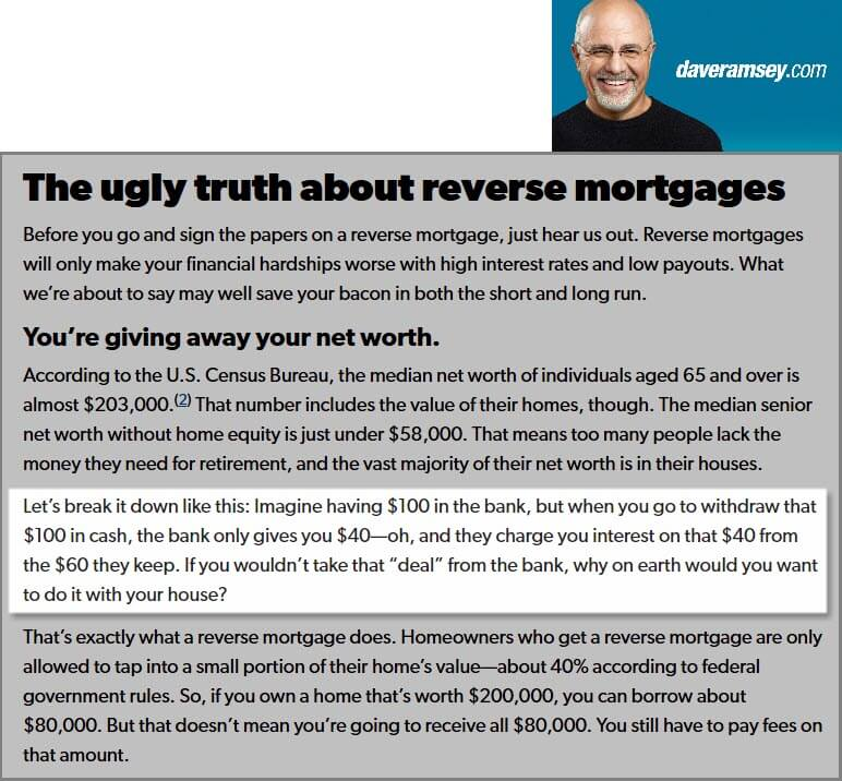Screenshot of Dave Ramsey Article on Reverse Mortgages